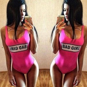 "Other - ""BAD GIRL"" Hot Pink Swimsuit"